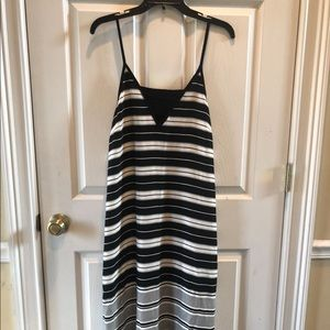 Matty M Black & White Striped Maxi Dress